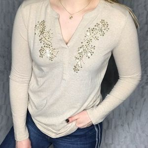 Anthropologie Akemi + Kin Sequin Floral Henley Top